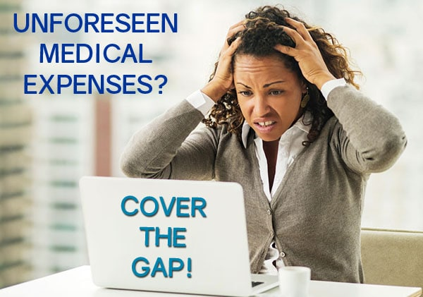 free gap cover quotes woman stressed over unforeseen medical expenses
